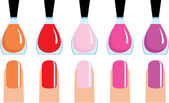 Set of 5 nail polish — Stock Vector
