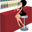 Royalty-Free Stock Imagen vectorial: Young woman sits at a bar counter