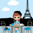 Pretty girl in the Parisian cafe — Stock Vector