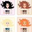 Royalty-Free Stock Vector Image: Make-up for women with a different hair color