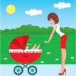 Mother walks with the child in a carriage — Stock Vector