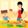 Mum learns the daughter to prepare — ストックベクタ
