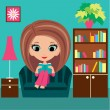 Girl cartoon reads the book on a sofa — Stock Vector