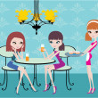 Friends in cafe and waitress — Stockvector #7562254