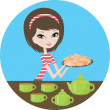 Pretty girl with cookies — Stock Vector