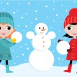 Stock Vector: Little girls build the snowman