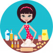 Young woman prepares dough - Stock Vector