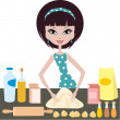 Stock Vector: Young woman prepares dough