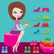 Shop of female footwear — Stock Vector #7562933