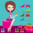 Stock Vector: Shop of female footwear