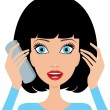 Stock Vector: Young woman is surprised by phone