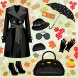 Autumn fashion set — Stockvektor