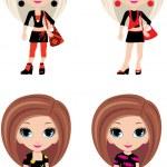 Four girls cartoon — Stock Vector #7566868
