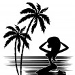Tropics. A palm tree and woman silhouette on a white background — Stock Vector