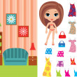 Royalty-Free Stock Vector Image: Paper doll with a set of clothes and a room