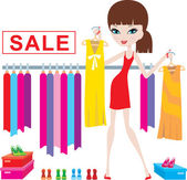 Young woman on clothes and footwear sale — Stock Vector