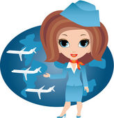 Stewardess cartoon — Stock Vector