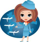 Stewardess cartoon — Stock Vector