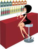 Young woman sits at a bar counter — Stock Vector