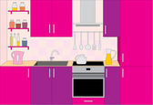 Kitchen furniture. Interior — Vecteur