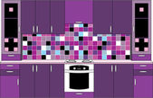 Interior. Kitchen in violet tones — Stock Vector