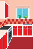 Kitchen furniture. Interior — Stock Vector