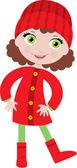 Little girl in a coat — Stock Vector