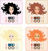 Make-up for women with a different hair color — Stock Vector