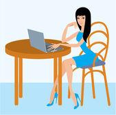 Jonge vrouw met de laptop in café — Stockvector