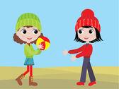 小さな女の子がボールをプレーします。 — ストックベクタ