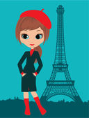 Pretty girl in the Paris — Stock Vector