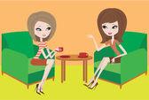两名年轻妇女在扶手椅说话 — 图库矢量图片