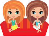 Girls cartoon talk on a sofa — Stock Vector