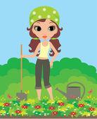 Kız bahçevan — Stok Vektör