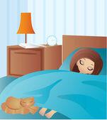 Kreslený žena spí — Stock vektor