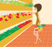 Woman in a supermarket — Stock Vector