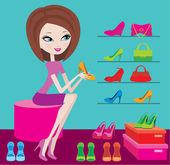 Shop of female footwear — Stock Vector