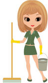 Girl the cleaner on a white background — Stock Vector