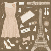 Paris fashion set — Stock Vector