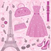 Paris fashion set — Stock Vector