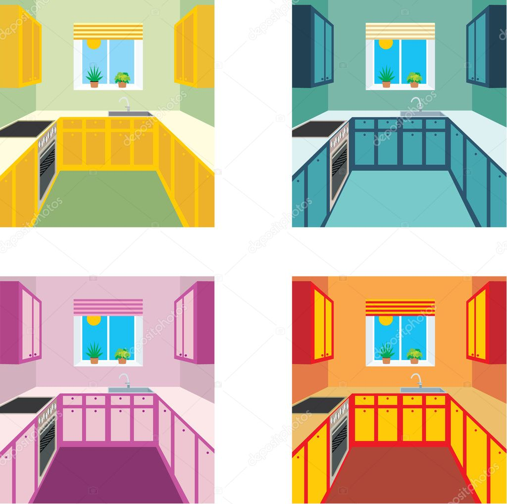 Kitchen interior in four color variants — Stock Illustration