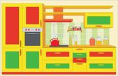 Kitchen furniture. Interior — Stockvektor
