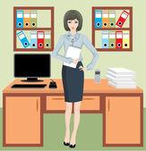 Businesswoman in office — Stock Vector