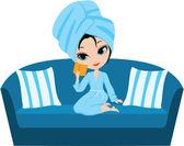 Woman cartoon in a towel on a sofa — Stock Vector