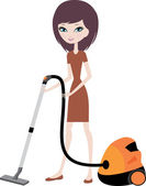 Pretty girl with vacuum cleaner — Stock Vector