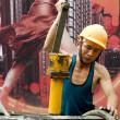Hardworking laborer — Stock Photo