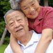 Happy senior couple embraced — Stock Photo