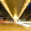 Stock Photo: City night scene : flyover,light and hurtling car