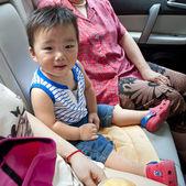Baby inside a car — Stock Photo