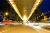 City night scene : flyover,light and hurtling car — Stock Photo